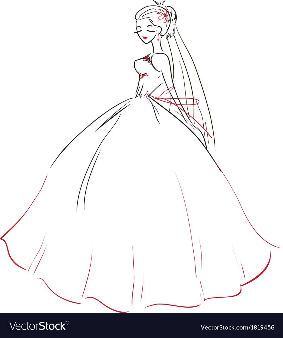 Symbolic bride in wedding dress vector | Price: 1 Credit (USD $1)