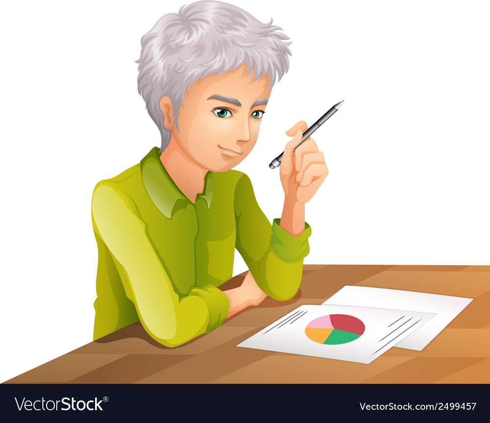 A man at the table with a pen and a paper with a vector | Price: 1 Credit (USD $1)
