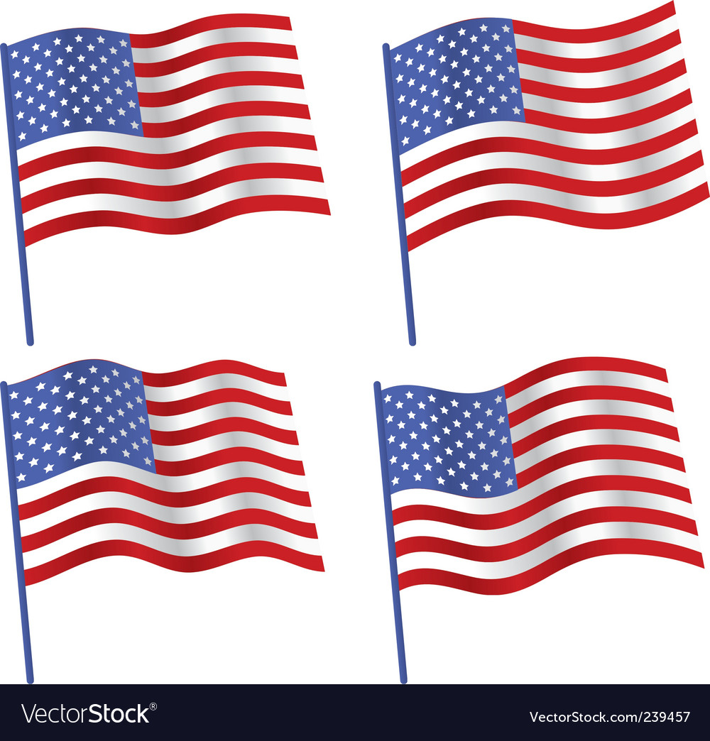 American flag vector | Price: 1 Credit (USD $1)