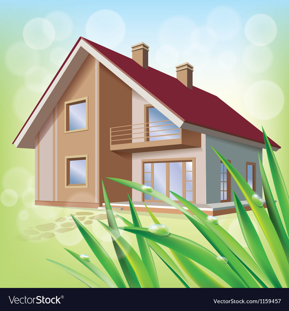 Beautiful eco house vector | Price: 1 Credit (USD $1)