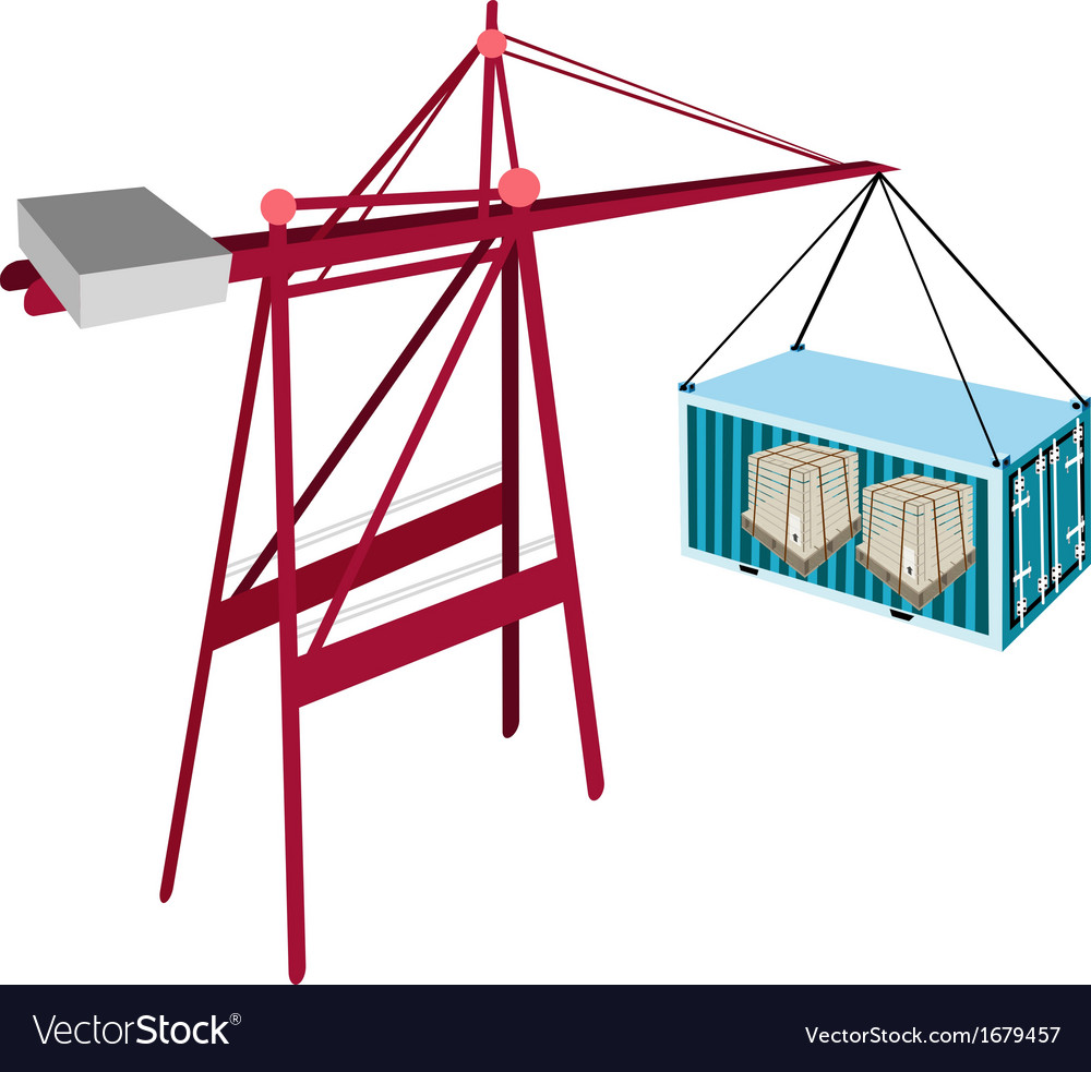Cargo container being hoisted by a red crane vector | Price: 1 Credit (USD $1)
