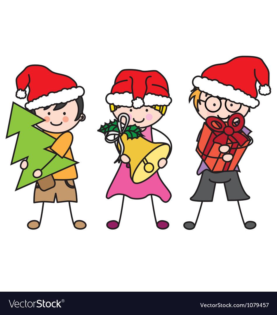 Children dressed as santa claus vector   Price: 1 Credit (USD $1)