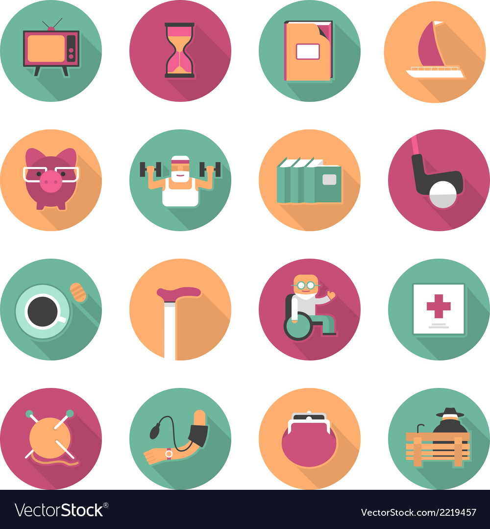 Flat icons of life after retirement vector | Price: 1 Credit (USD $1)