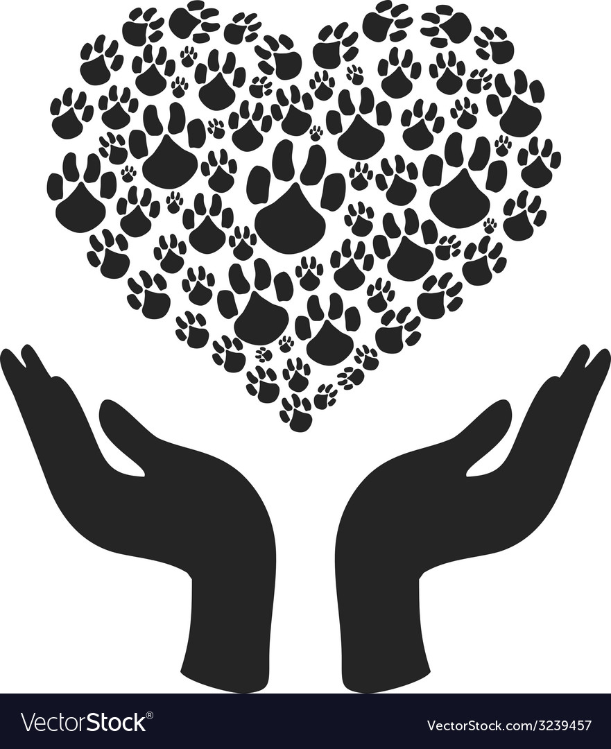 Hands hold heart paw symbol vector | Price: 1 Credit (USD $1)