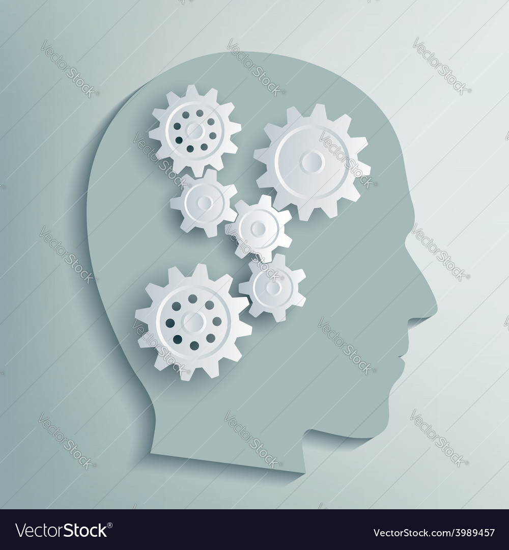 Human head with gears inside vector | Price: 1 Credit (USD $1)