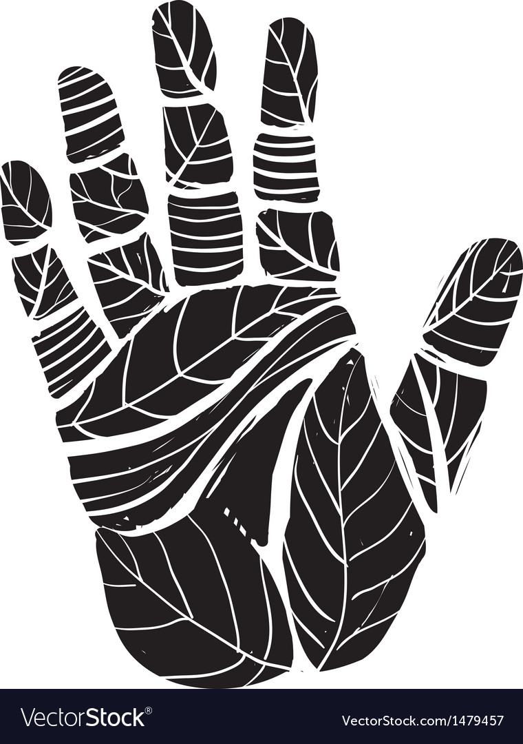 Human palm with leaves ecology vector | Price: 1 Credit (USD $1)