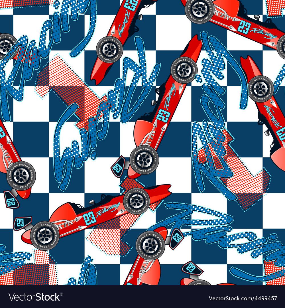 Open wheel racing seamless pattern vector | Price: 1 Credit (USD $1)