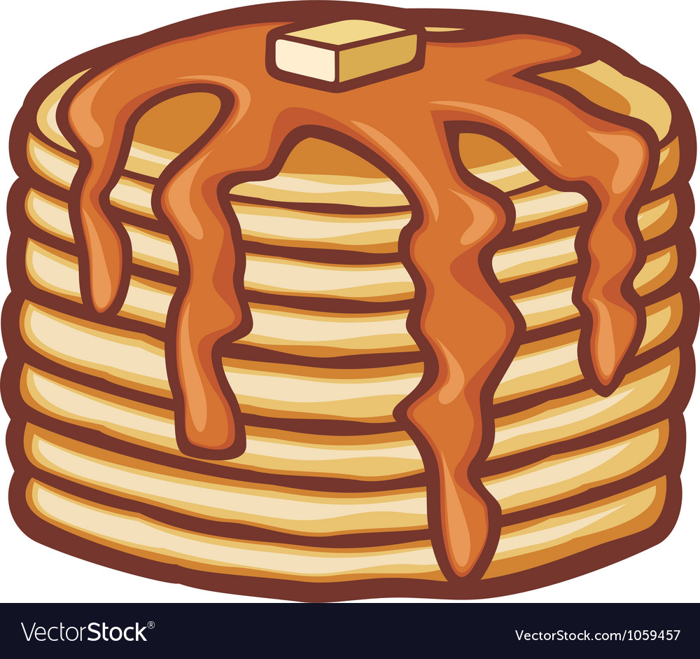 Pancakes with butter and syrup vector | Price: 1 Credit (USD $1)