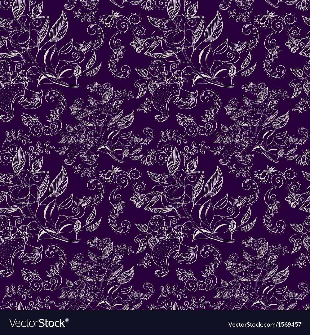 Seamless monochrome floral background vector | Price: 1 Credit (USD $1)