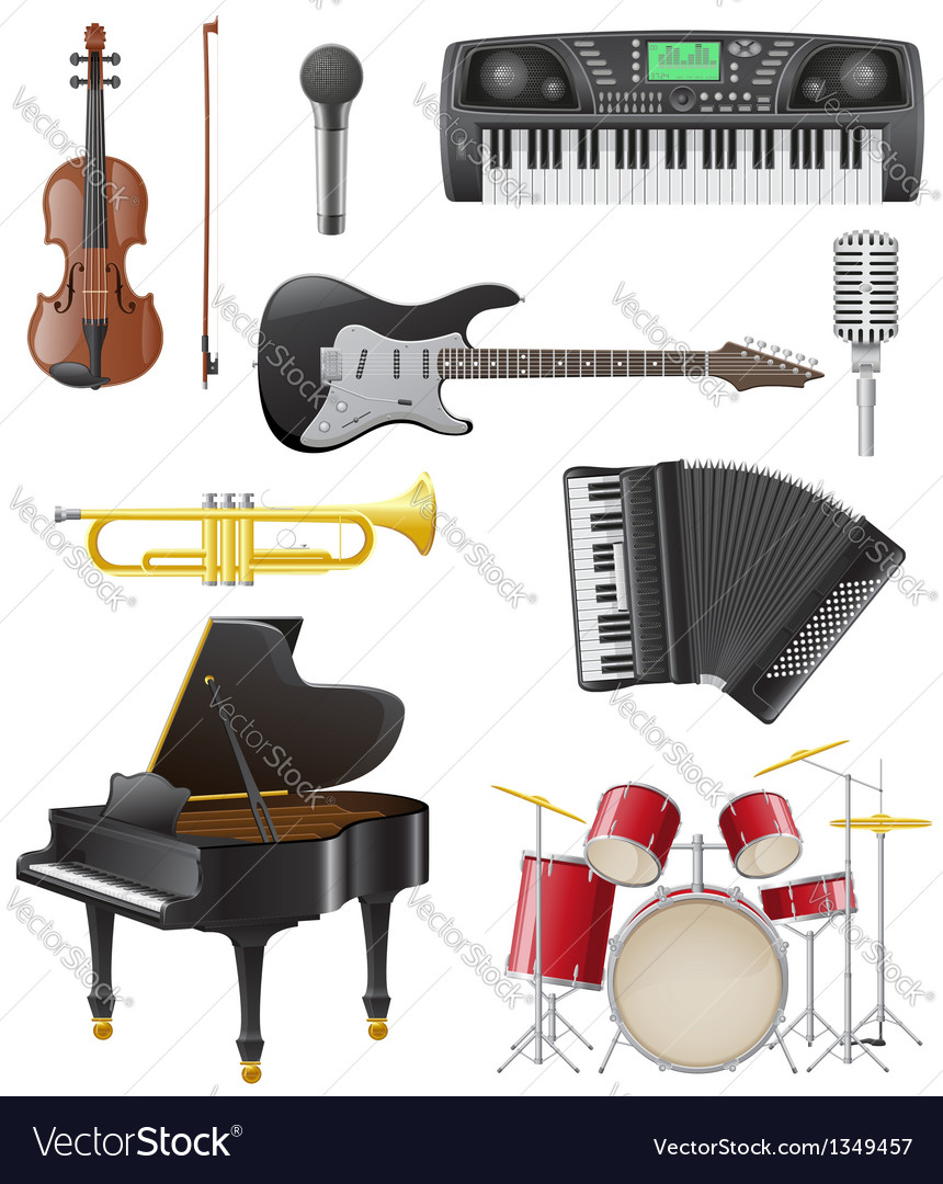Set musical instruments 01 vector | Price: 5 Credit (USD $5)