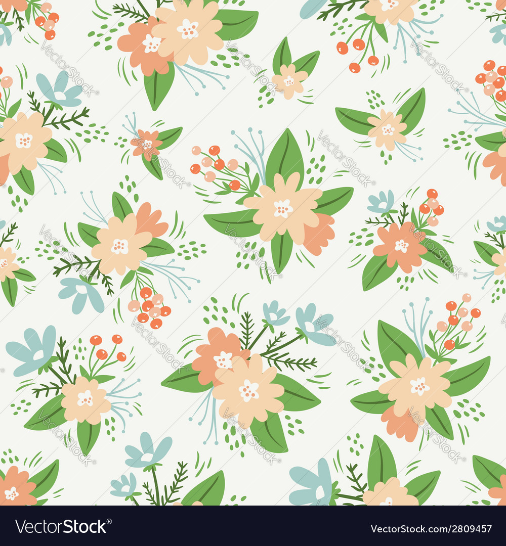 Vintage floral compositions seamless pattern vector | Price: 1 Credit (USD $1)
