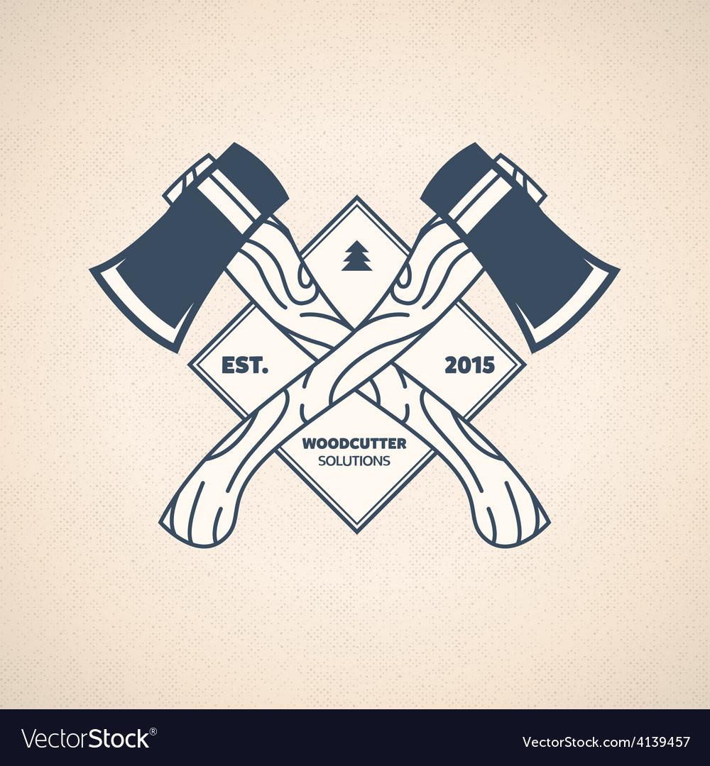 Vintage lumberjack label woodcutter emblem vector | Price: 1 Credit (USD $1)