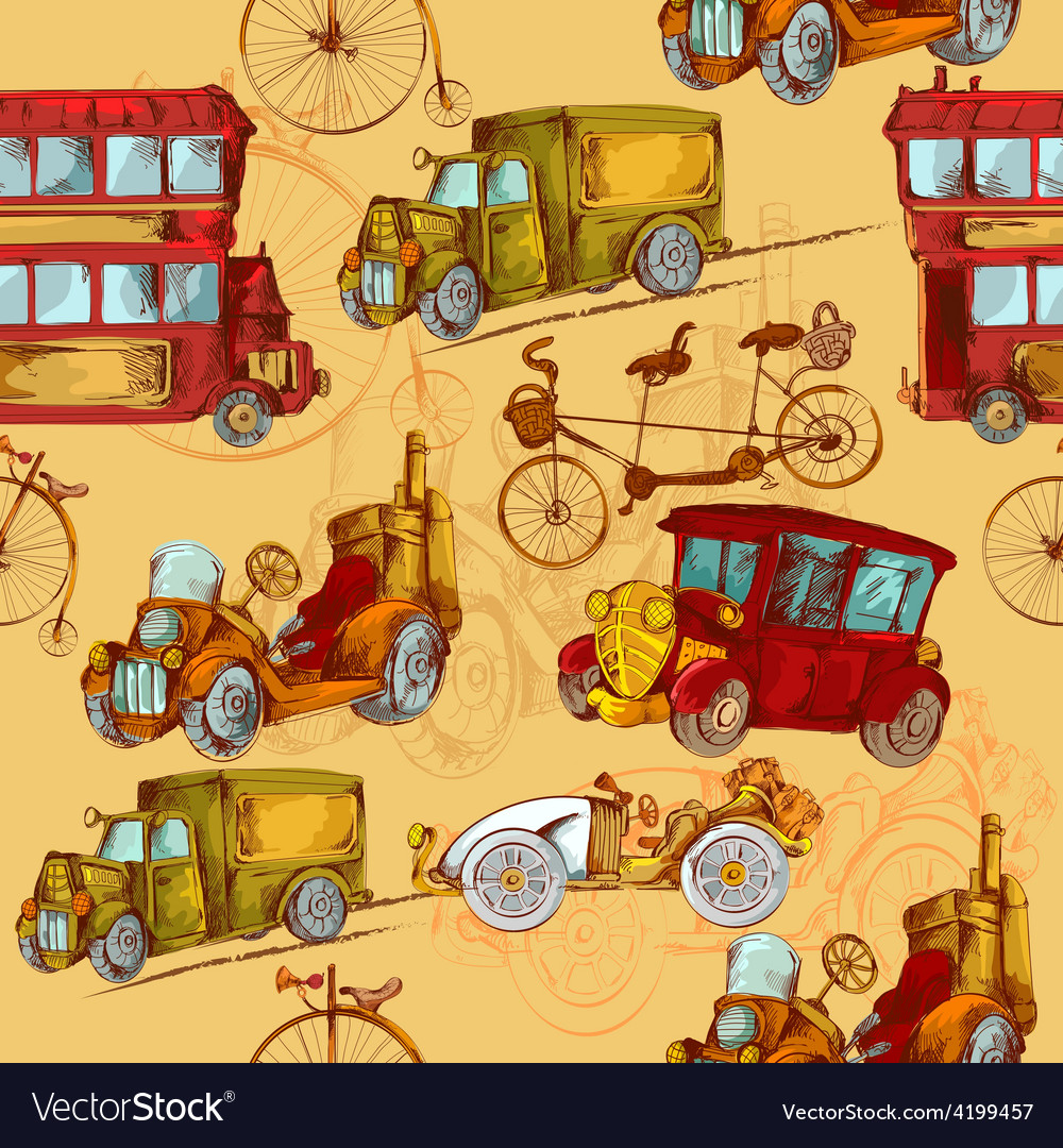 Vintage transport seamless vector | Price: 1 Credit (USD $1)