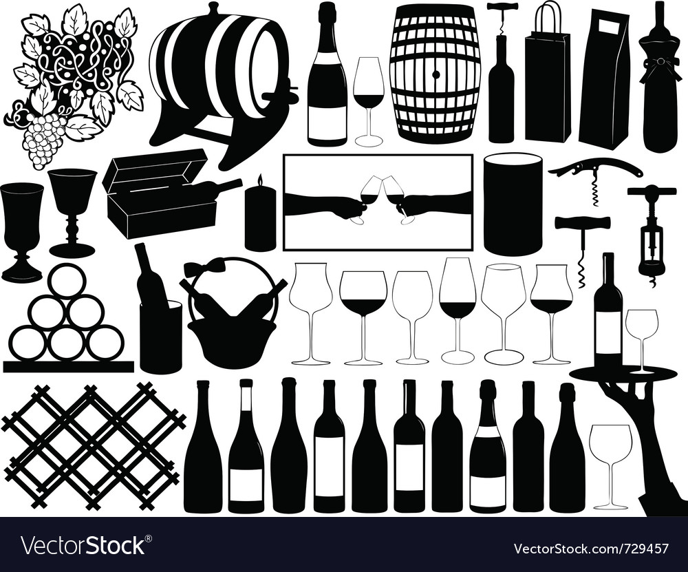 Wine set vector | Price: 1 Credit (USD $1)