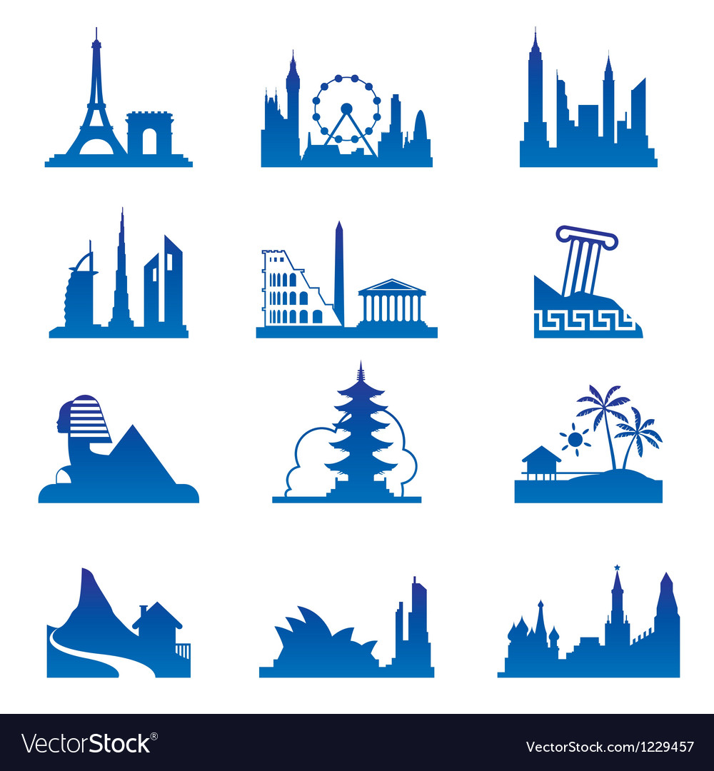 World travel destinations vector | Price: 1 Credit (USD $1)