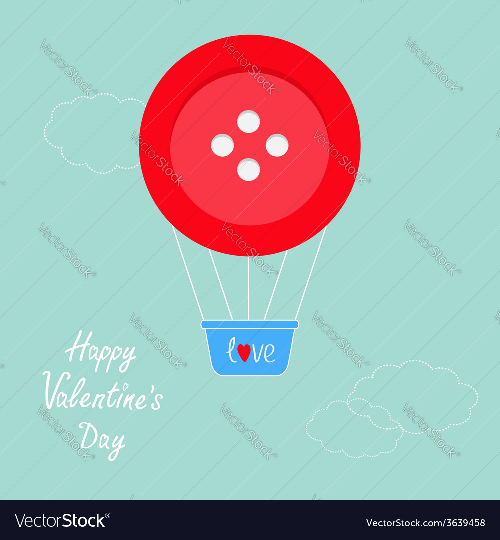 Big red button hot air balloon dash line clouds vector | Price: 1 Credit (USD $1)