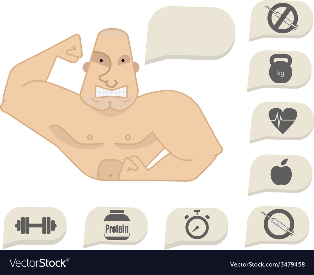 Bodybuilder torso with speech bubbles tense face vector | Price: 1 Credit (USD $1)