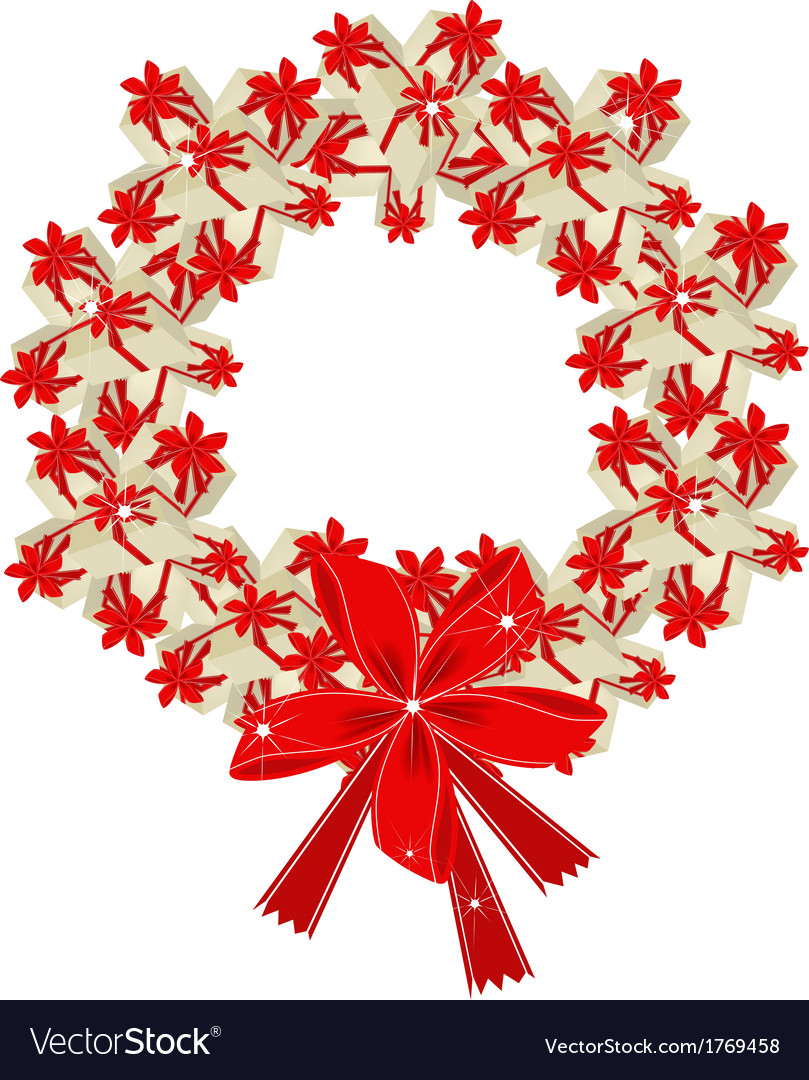 Christmas wreath of gift boxes with red ribbon vector | Price: 1 Credit (USD $1)
