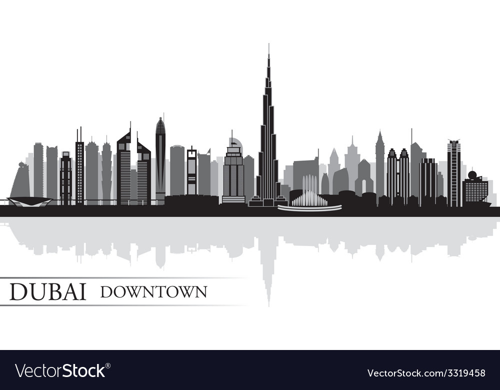 Dubai downtown city skyline silhouette background vector | Price: 1 Credit (USD $1)