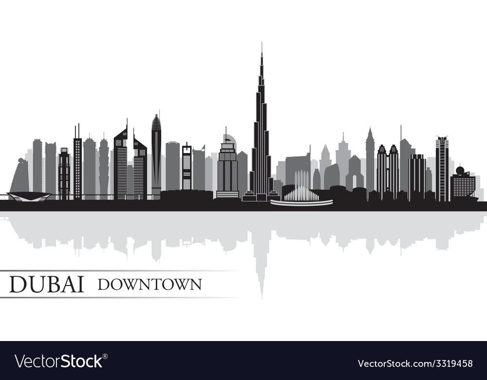 Dubai downtown city skyline silhouette background vector | Price: 1 Credit (USD $1)