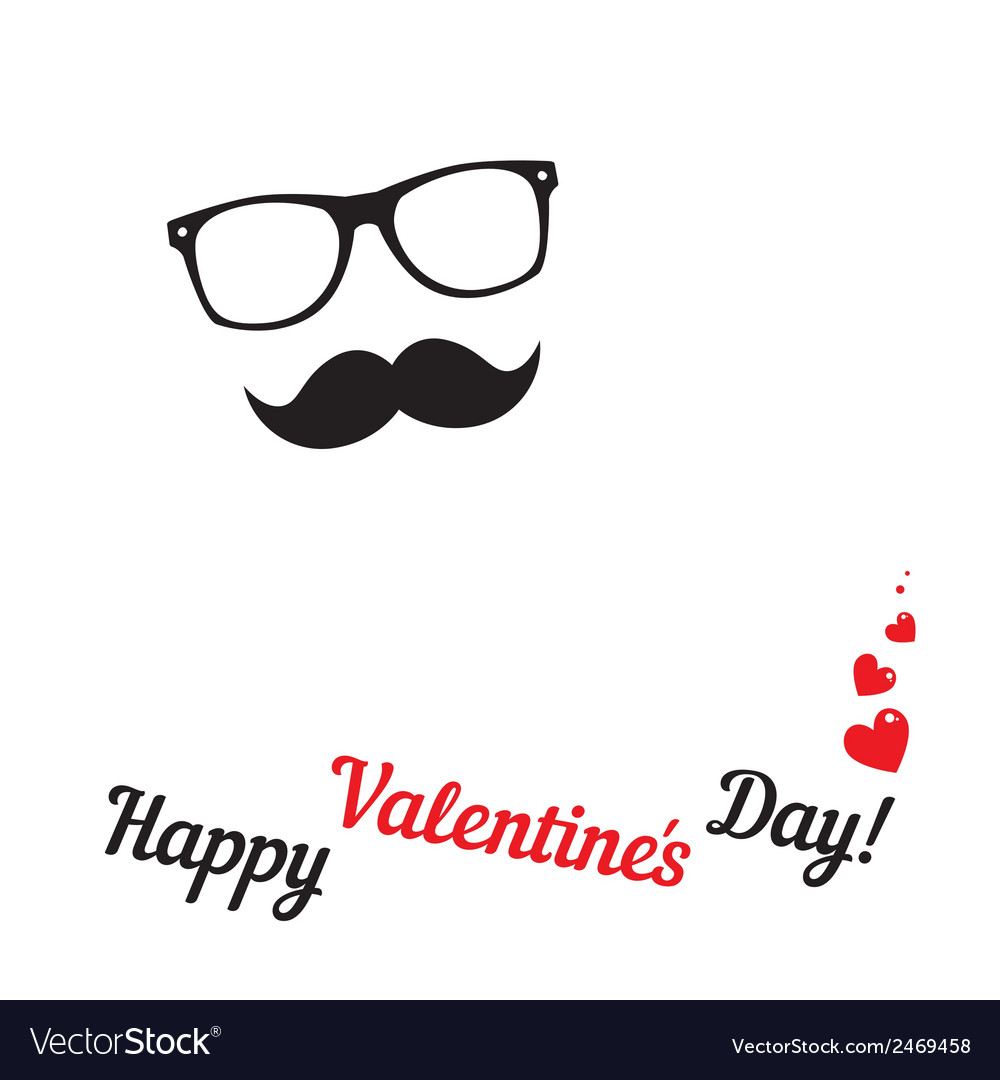 Greeting card for hipsters happy valentines day vector | Price: 1 Credit (USD $1)