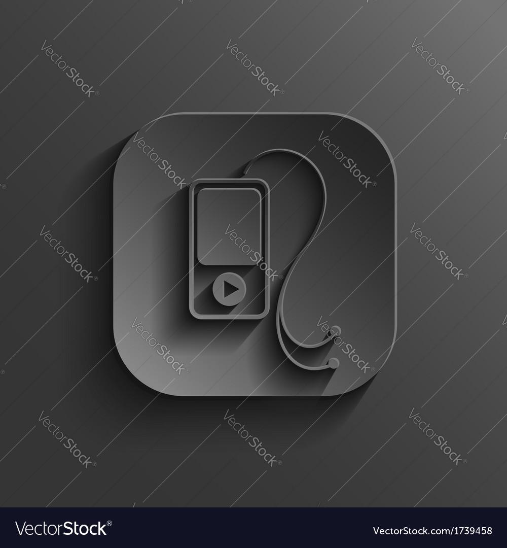 Mp3 player icon - black app button vector | Price: 1 Credit (USD $1)
