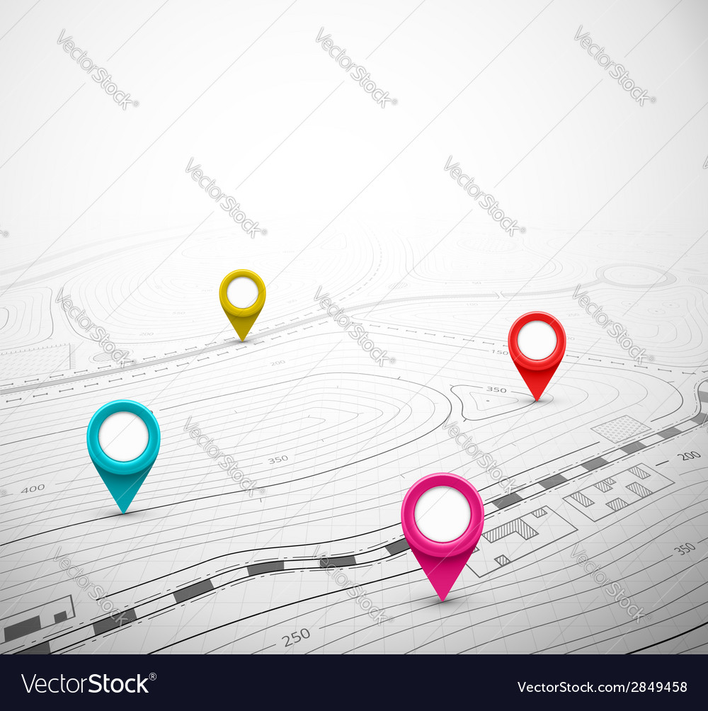 Topographic map with pin vector   Price: 1 Credit (USD $1)