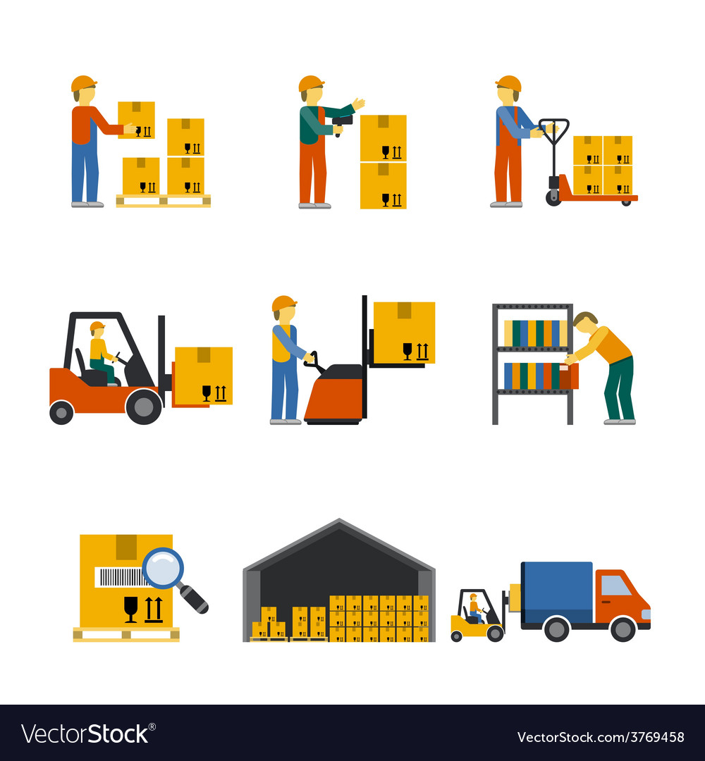 Warehouse icon flat vector | Price: 1 Credit (USD $1)
