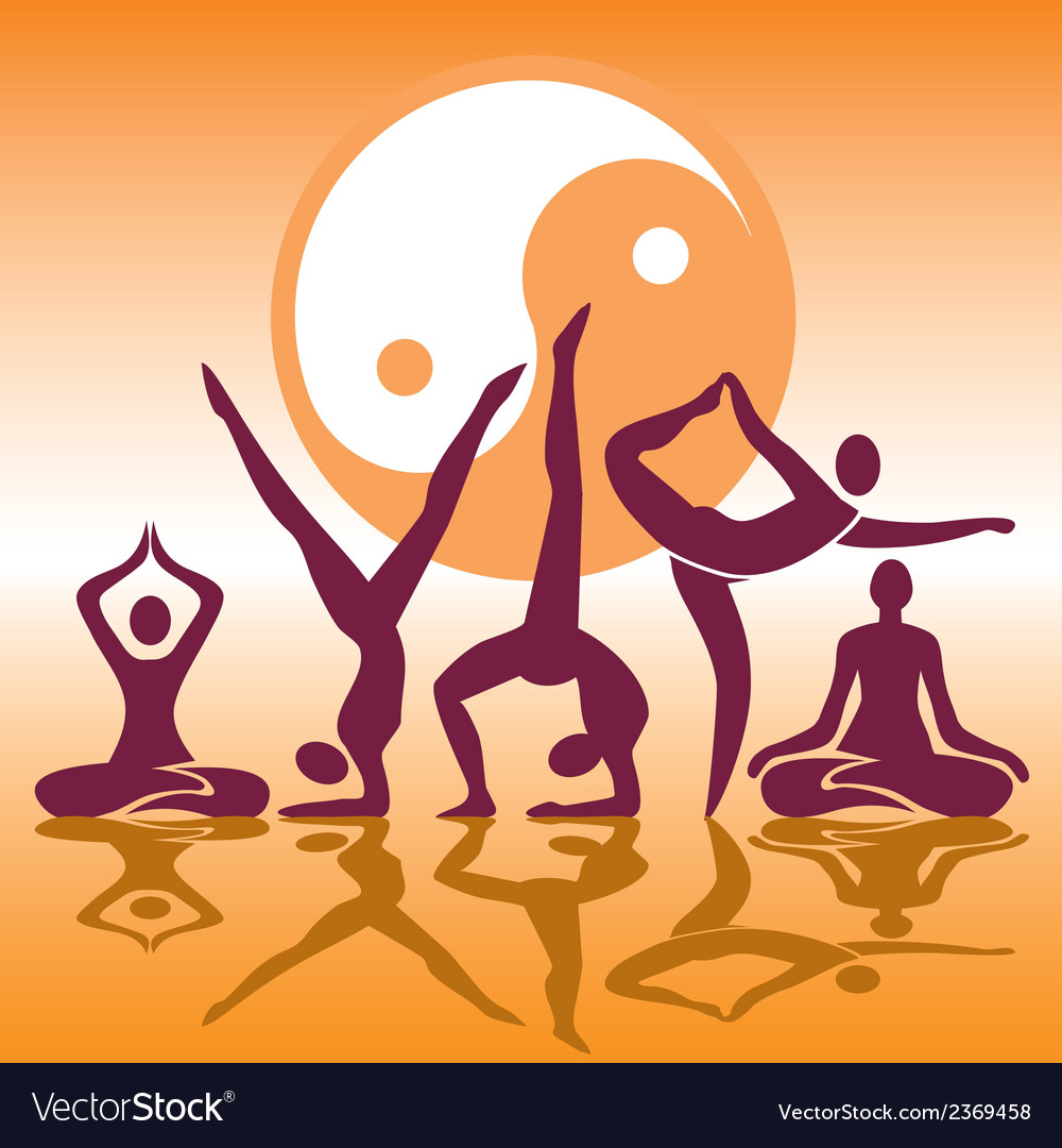 Yoga positions silhouettes vector | Price: 1 Credit (USD $1)