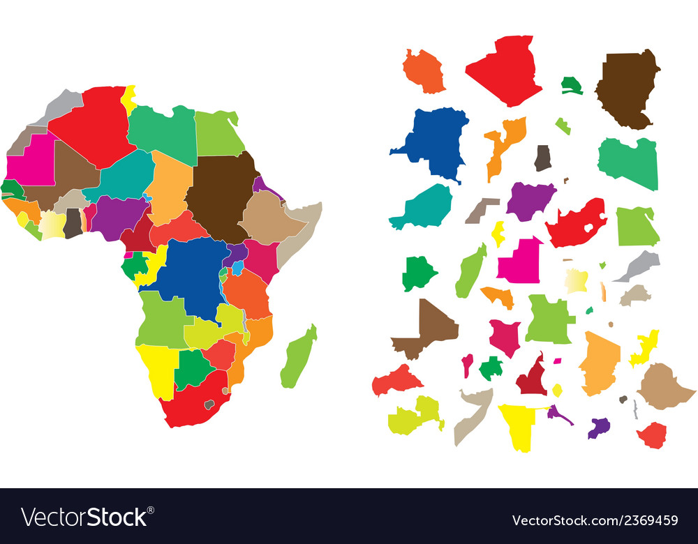 Africa color map vector | Price: 1 Credit (USD $1)