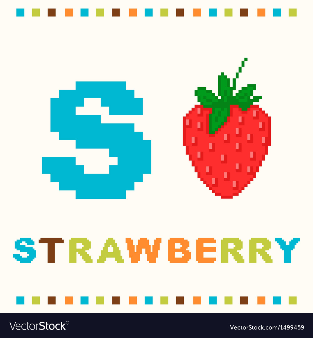 Alphabet for children letter s and a strawberry vector | Price: 1 Credit (USD $1)