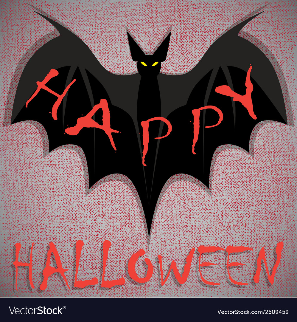 Bat on grunge happy halloween vector | Price: 1 Credit (USD $1)