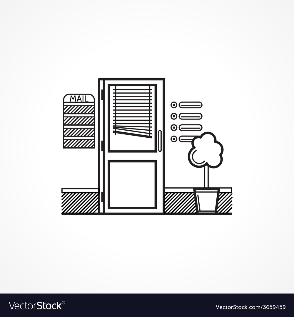 Black line icon for office door vector   Price: 1 Credit (USD $1)