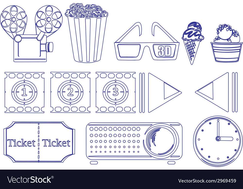 Doodle design of the things for movie marathon vector | Price: 1 Credit (USD $1)