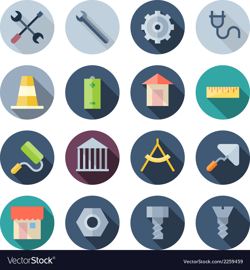 Flat design icons for construction vector | Price: 1 Credit (USD $1)
