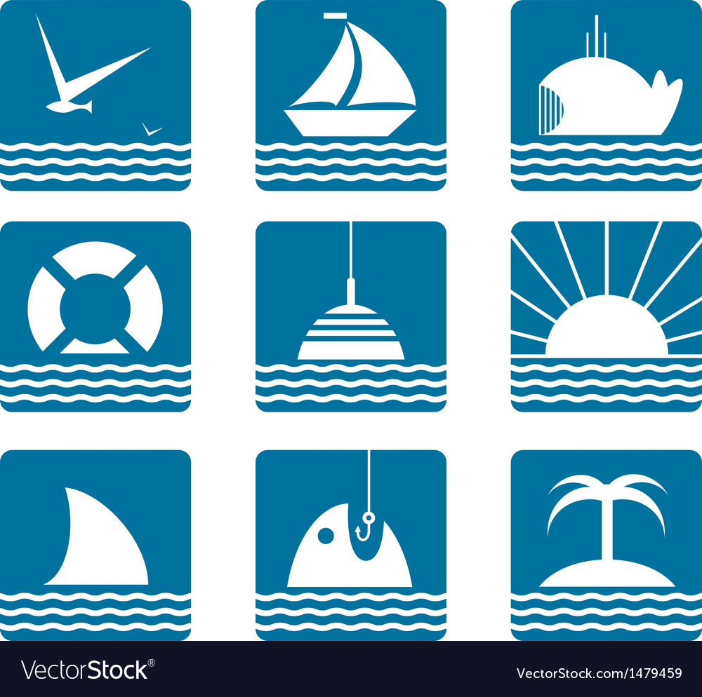Nautical and sea icons set vector | Price: 1 Credit (USD $1)