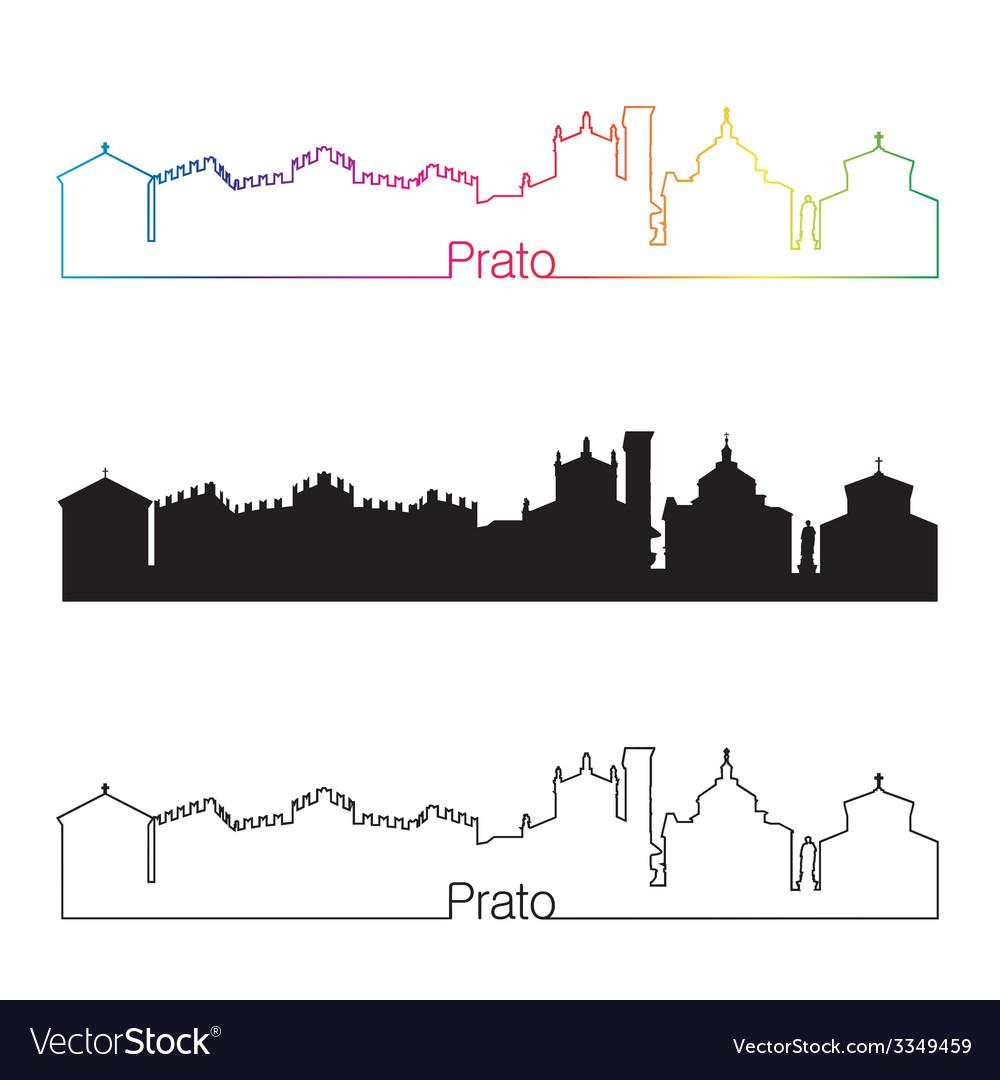 Prato skyline linear style with rainbow vector | Price: 1 Credit (USD $1)