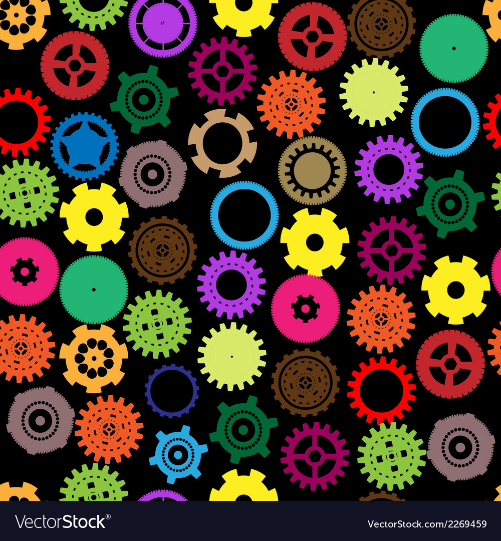 Seamless gear and cogwheel retro color vector | Price: 1 Credit (USD $1)