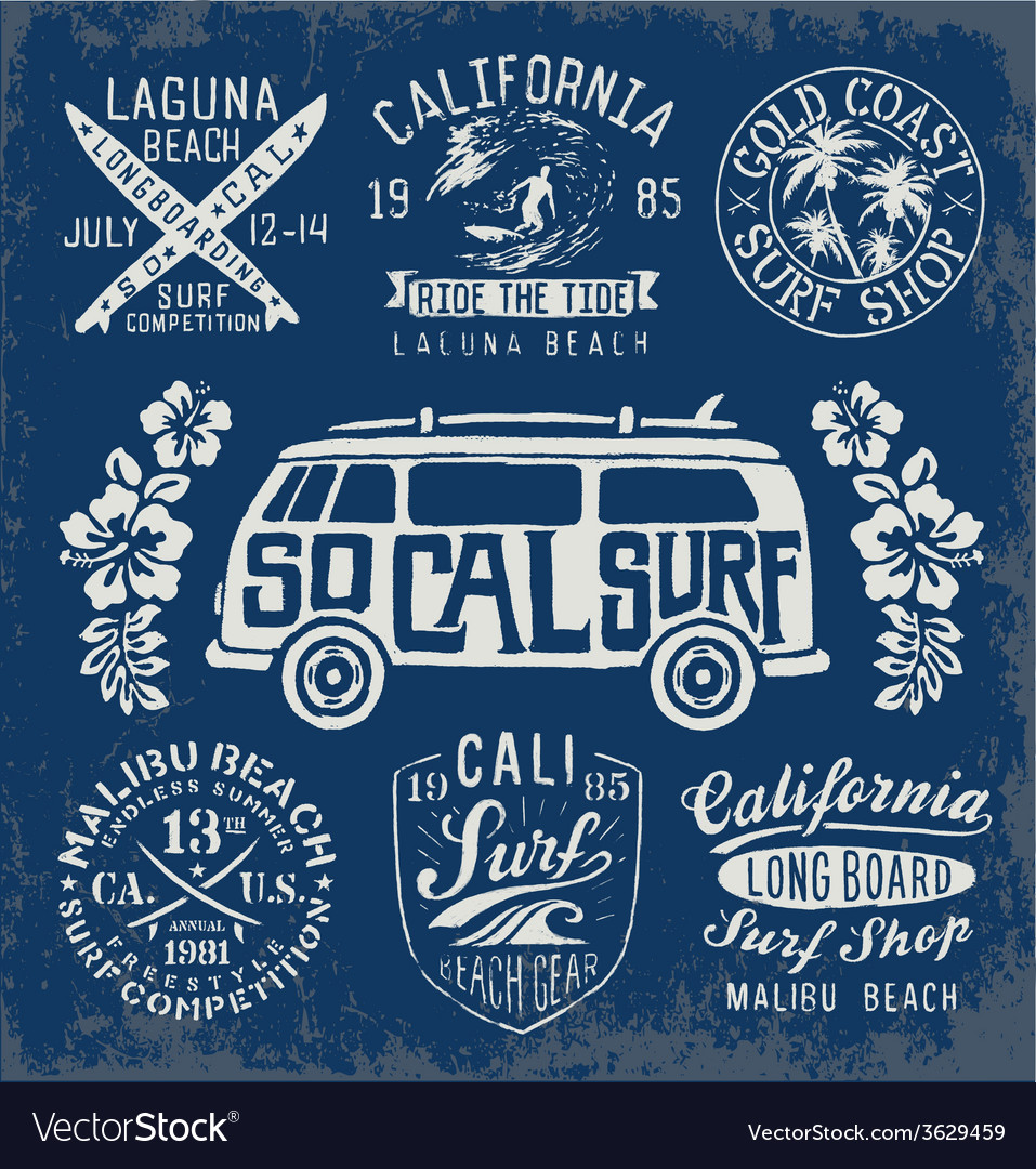 Set of vintage surfing graphics and emblems vector | Price: 3 Credit (USD $3)