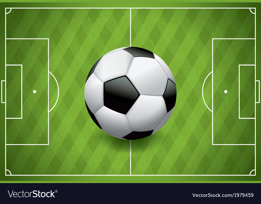 Soccer football on realistic textured field vector | Price: 1 Credit (USD $1)