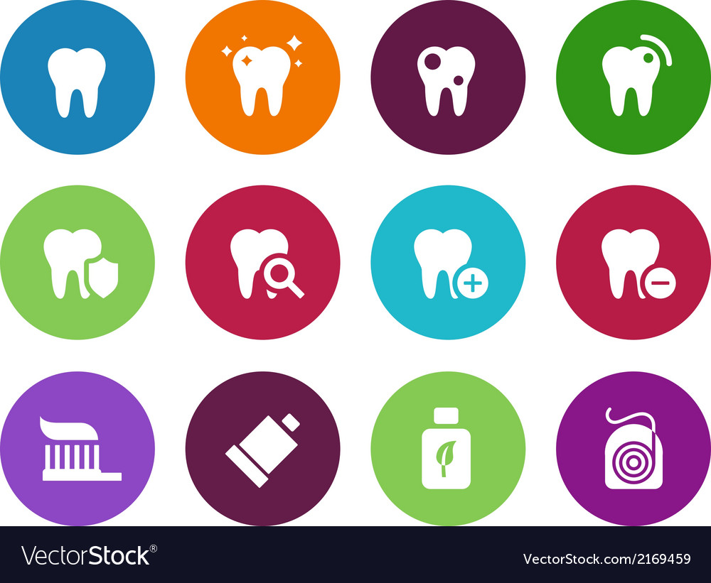 Tooth teeth circle icons on white background vector | Price: 1 Credit (USD $1)