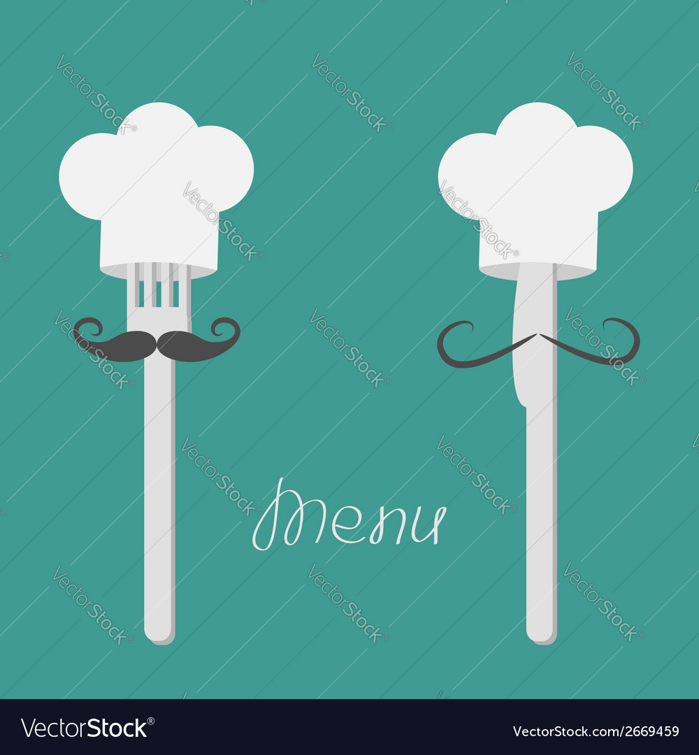 Two forks with big mustaches and chefs hats menu vector | Price: 1 Credit (USD $1)