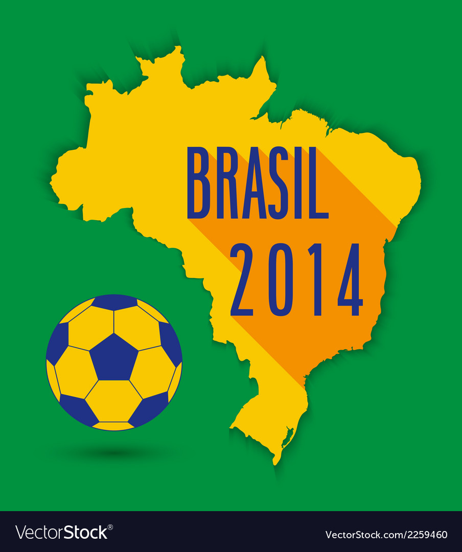 Brazilian map with ball vector | Price: 1 Credit (USD $1)