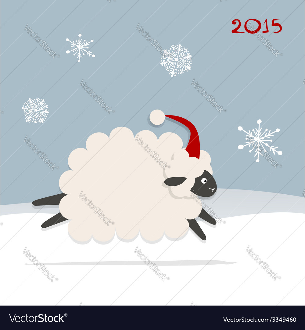 Funny sheep santa symbol of new year 2015 vector | Price: 1 Credit (USD $1)