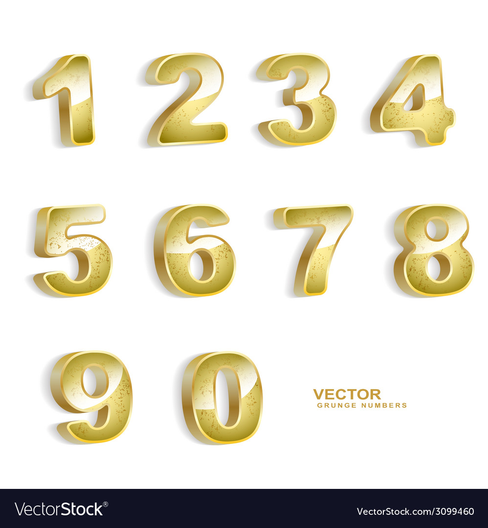 Gold grunge 3d numbers set vector | Price: 1 Credit (USD $1)