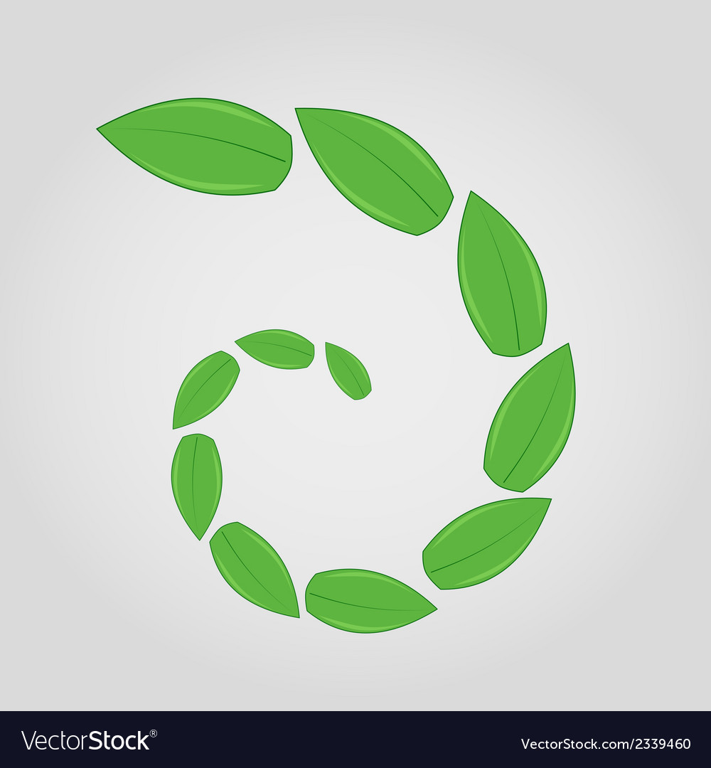 Green leaves in spiral vector | Price: 1 Credit (USD $1)