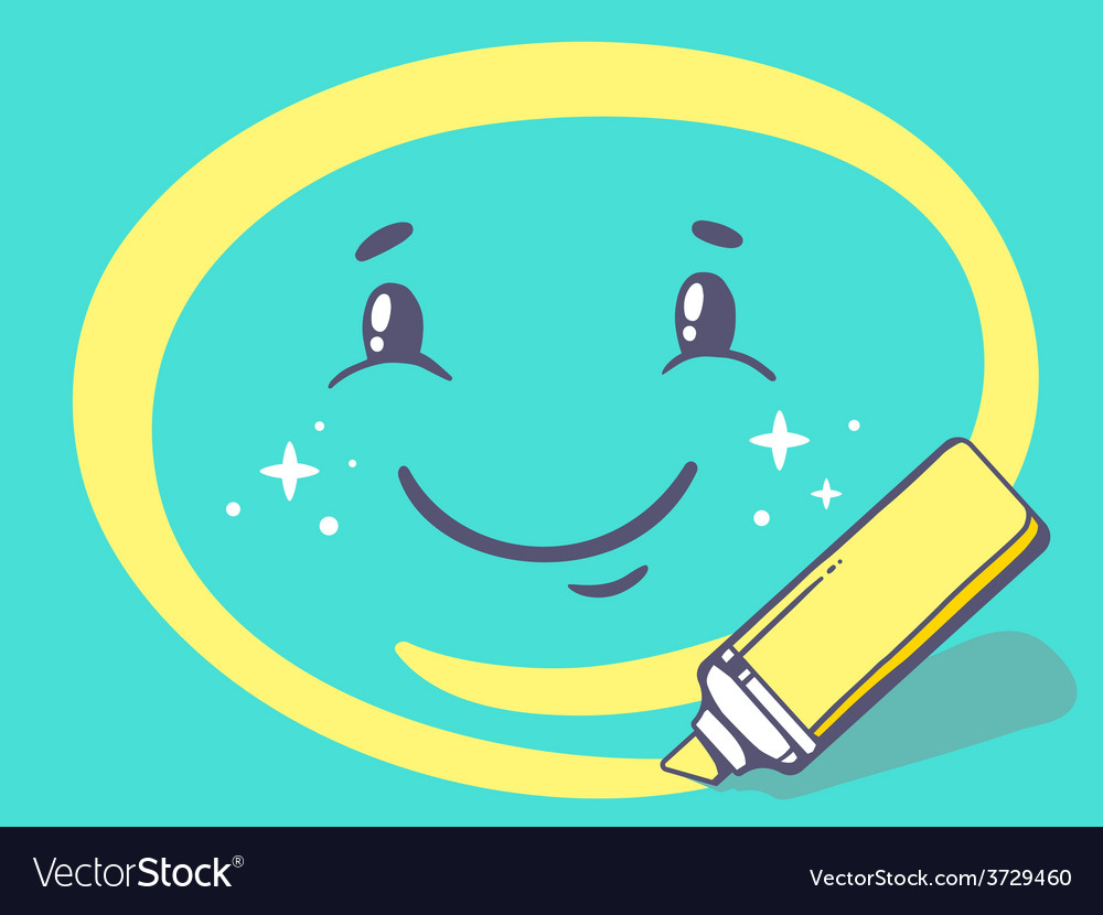 Marker drawing circle around smile on gre vector | Price: 1 Credit (USD $1)