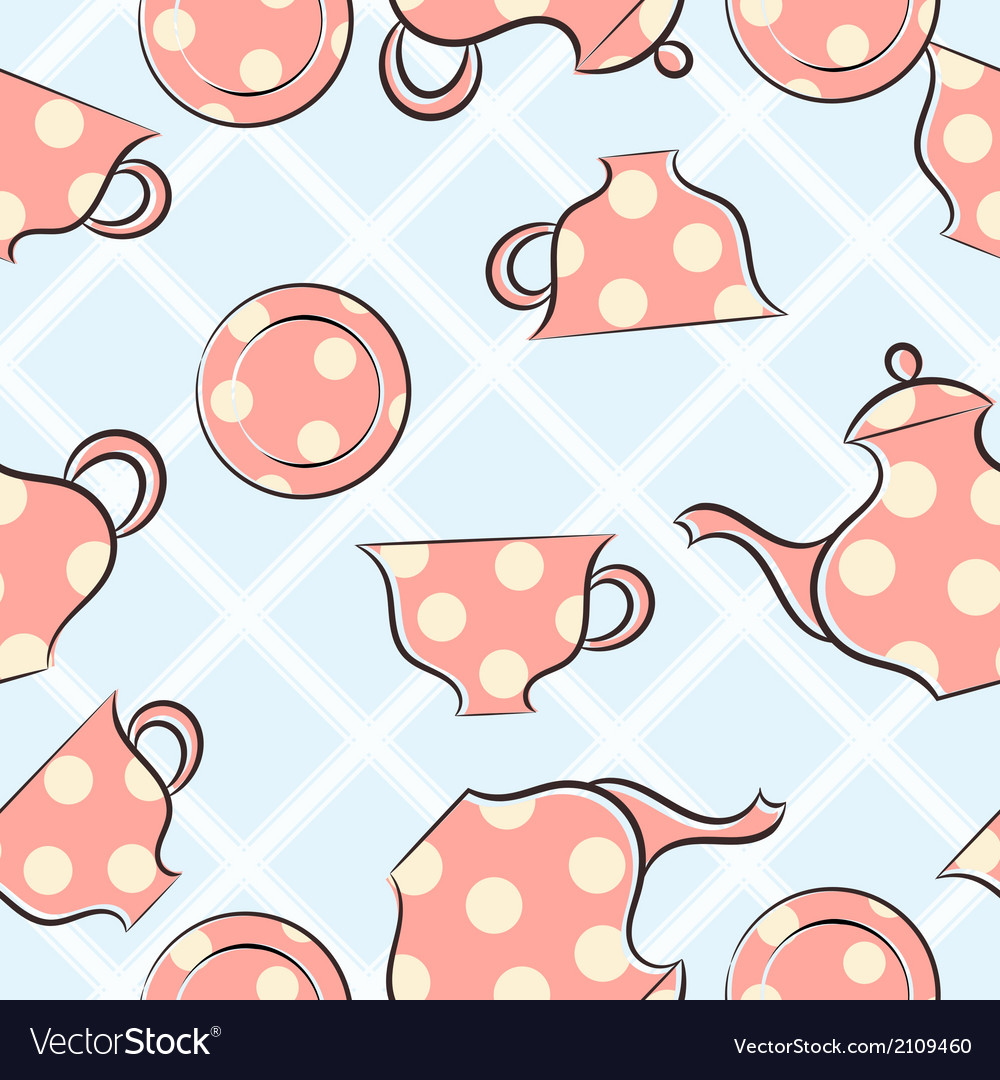 Seamless pattern with cups and teapot vector | Price: 1 Credit (USD $1)