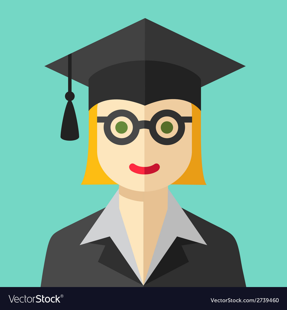 Smiling graduate student flat icon vector | Price: 1 Credit (USD $1)