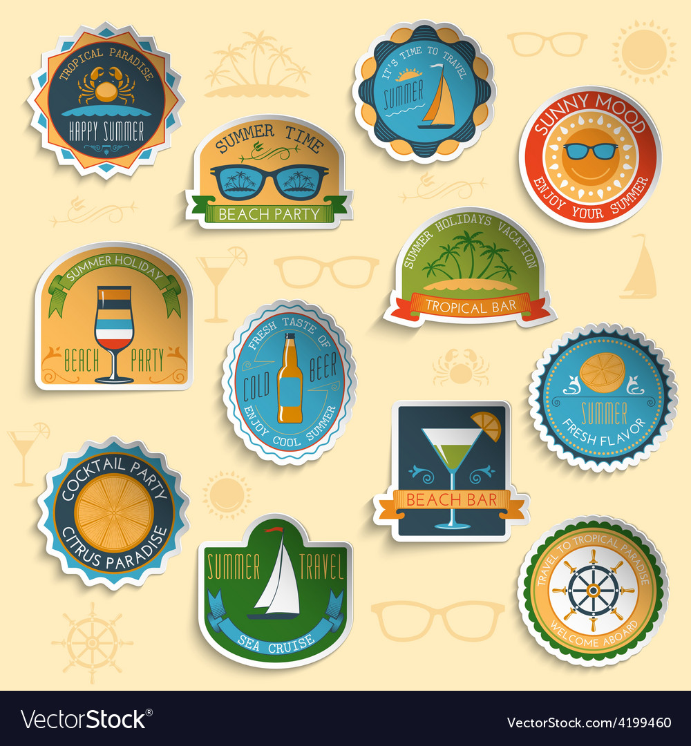 Summer vacation emblems stickers set vector | Price: 1 Credit (USD $1)